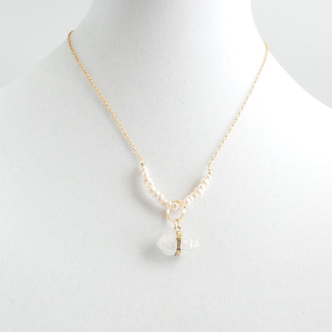 Pearls with Quartz Pendant Necklace