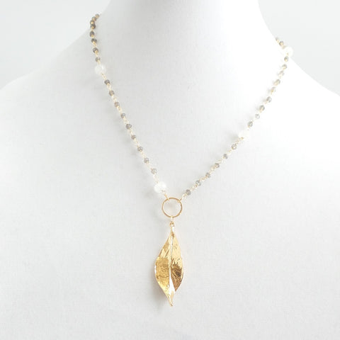 Short Moonstone Leaf Necklace