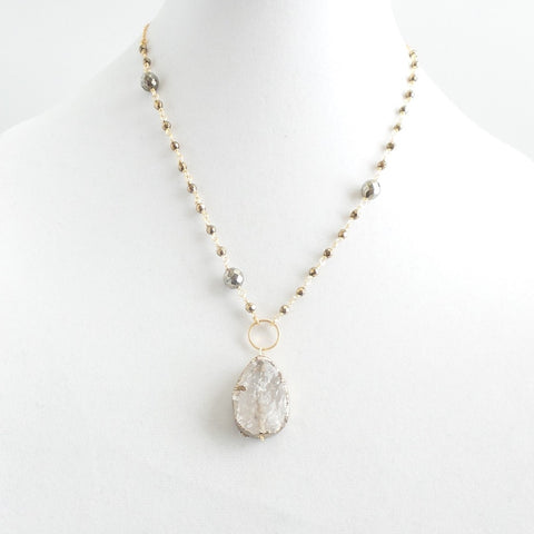 Short Pyrite and Quartz Necklace