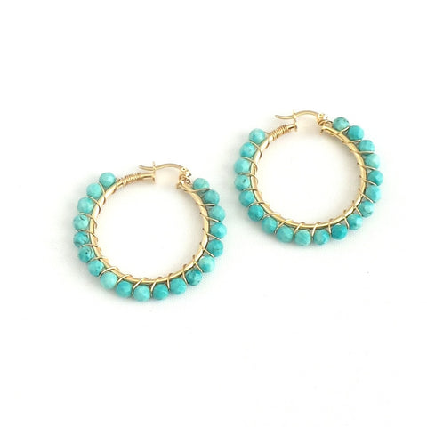 Standard Beaded Hoop Earrings *click for more colors