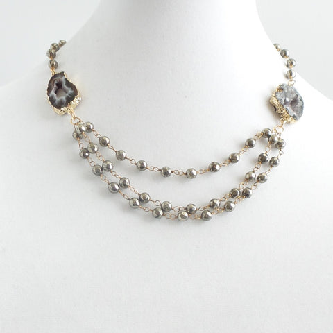 Triple Chain Pyrite with Druzy Stones Necklace