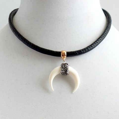 White Crescent Moon Choker