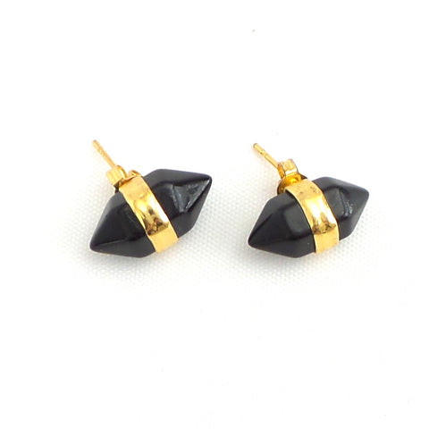 Black Barrel Earrings