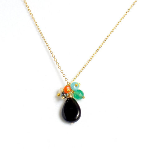 Stone Drop Pendant Necklace in Onyx or Opal