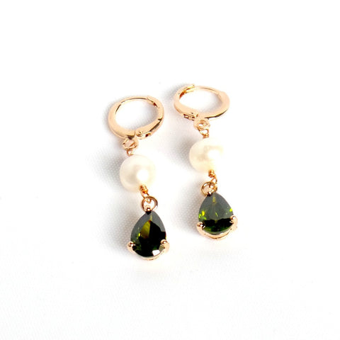 Crystal-Pearl Rose Gold Drop Earrings *click for more colors