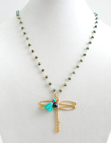 Green Crystal Dragonfly Pendant Necklace