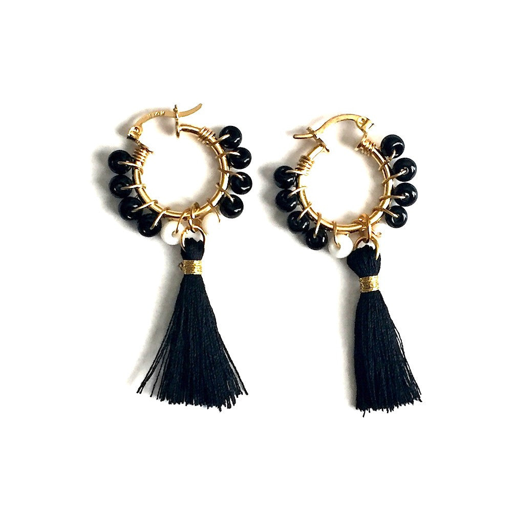 Hoop Earrings with Black Tassel