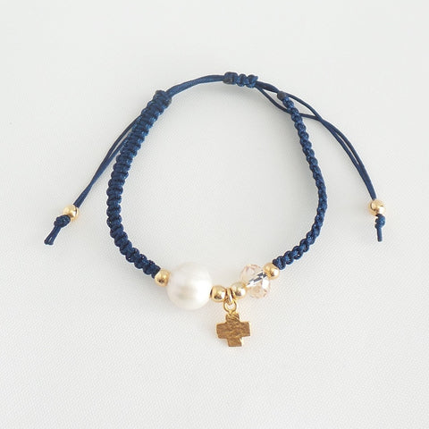 Navy Bracelet Cross Symmetric