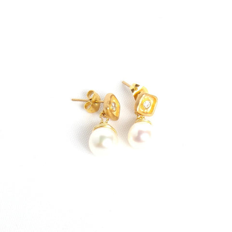 Pearl Drop Square Gold Earring