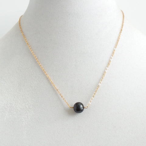 Single Black Faux Pearl Necklace