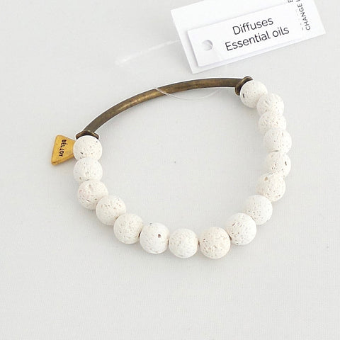 Buffy White Essential Oil Diffuser Bracelet - Estilo Concept Store