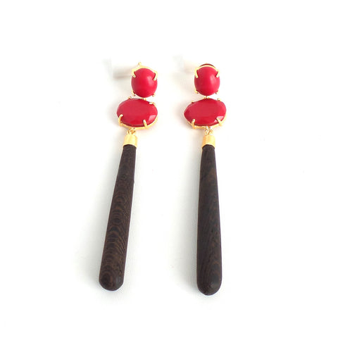 Red Ebony Wood Teardrop Earrings - Estilo Concept Store