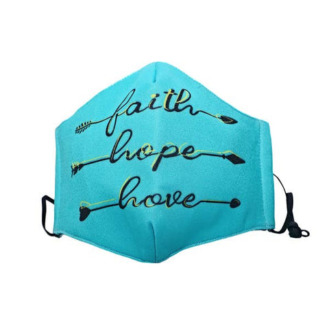 Turquoise Faith Hope Love Face Mask - Estilo Concept Store