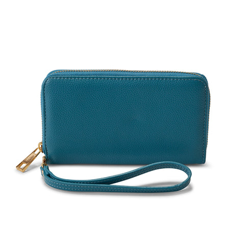 Marine Blue Vegan Leather Wristlet