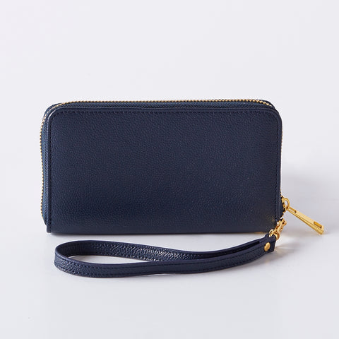 Navy Vegan Leather Wristlet