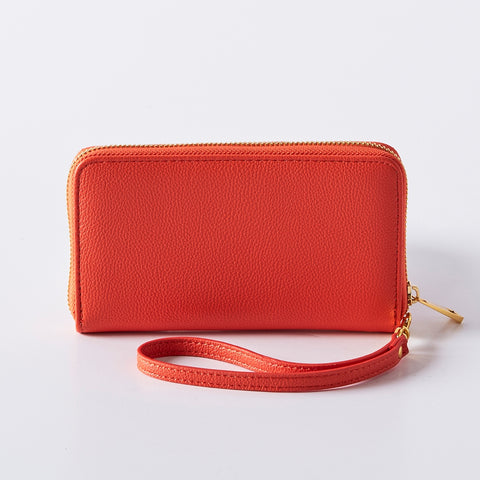 Orange Vegan Leather Wristlet