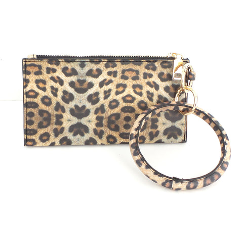 Bracelet Keychain and Wristlet in Leopard