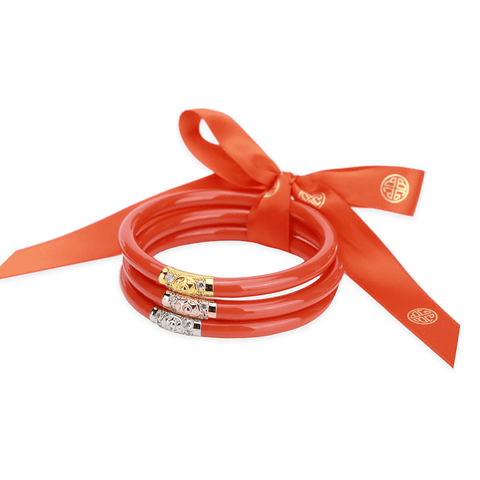 All Weather Three Kings CORAL Bangles by Budha Girl
