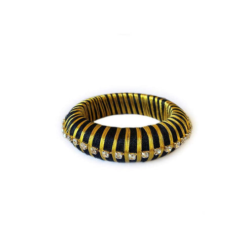 Malia Silk Wrap Black Bangle with Crystals - Estilo Concept Store