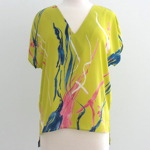 Green Abstract V Neck Top