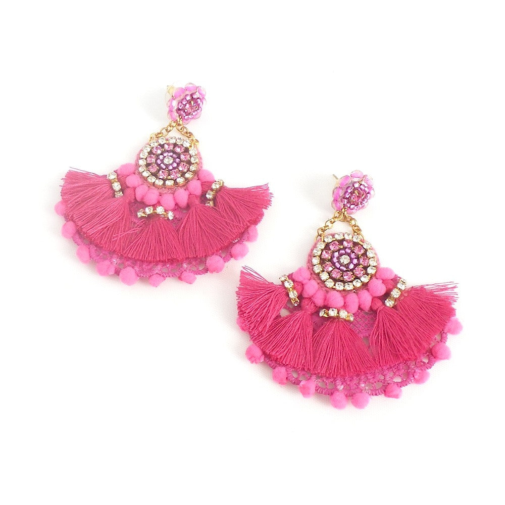 Pink Fan Statement Earrings