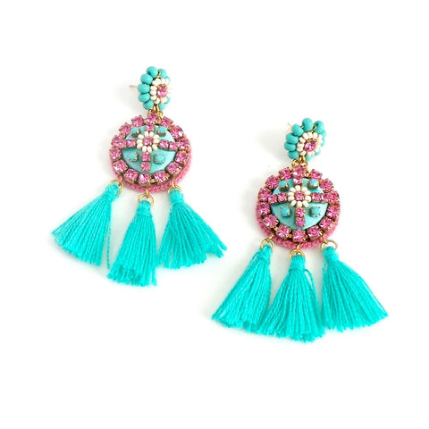 Round Pink with Turquoise Tassels Statement Earrings