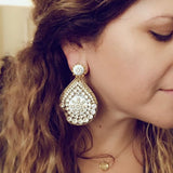 Teardrop White Earrings