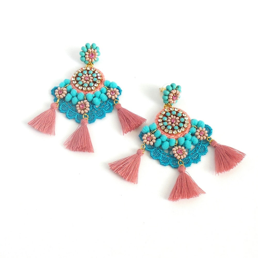Turquoise and Pink Tassels Statement Earrings