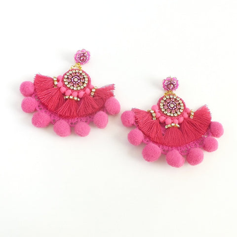 Pink Fan Pom Pom Statement Earrings