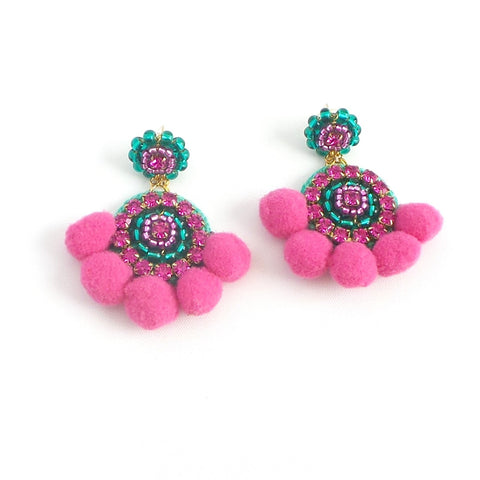 Round Pom Pom Statement Earrings *click for more colors - Estilo Concept Store