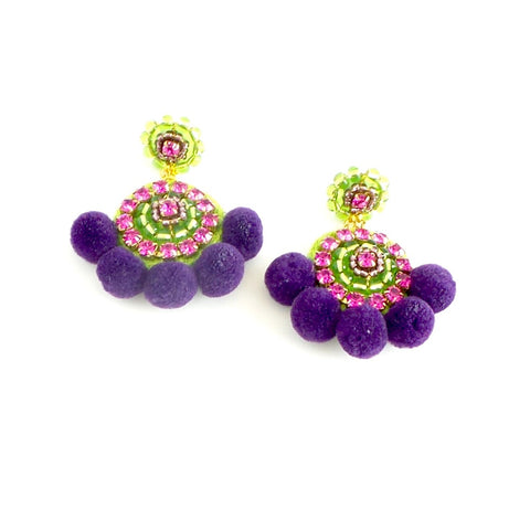Round Pom Pom Statement Earrings *click for more colors