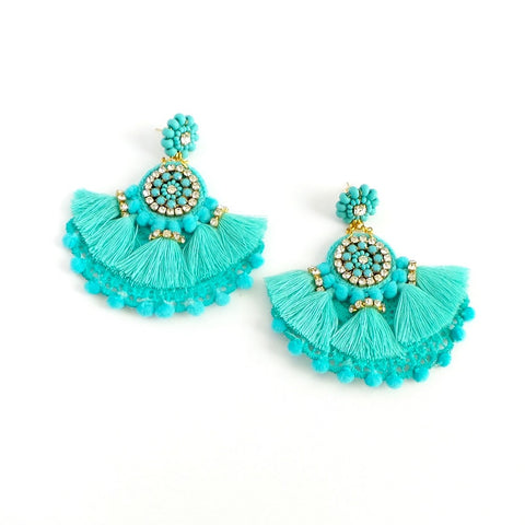 Turquoise Fan Statement Earrings - Estilo Concept Store