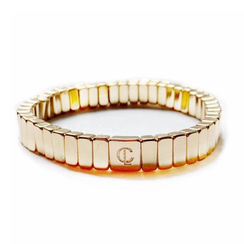 All Gold Mini Bar Tile Bracelet