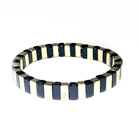 Black and Gold Tile Bead Bracelet