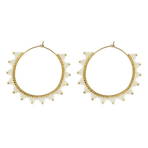 Kona White Hoop Earrings