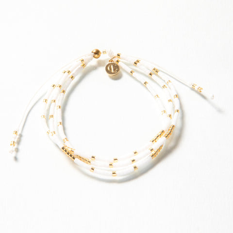Triple White and Gold Strand Bracelet