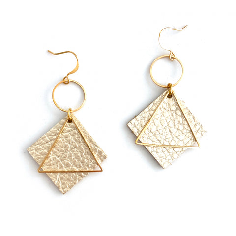 Gold Diamond Leather Earrings