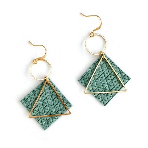 Green Diamond Leather Earrings