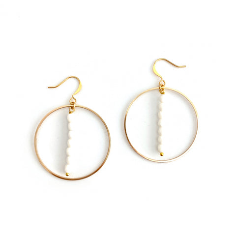 White Faceted Drop Hoop Earrings