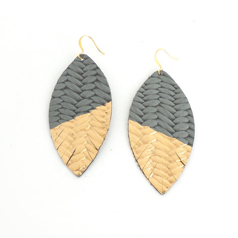 Grey Braided Painted Leather Feather Earrings