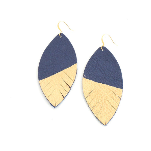 Navy Gold Painted Leather Feather Earrings