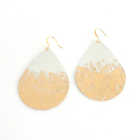 Silver and Gold Splatter Leather Teardrop Earrings