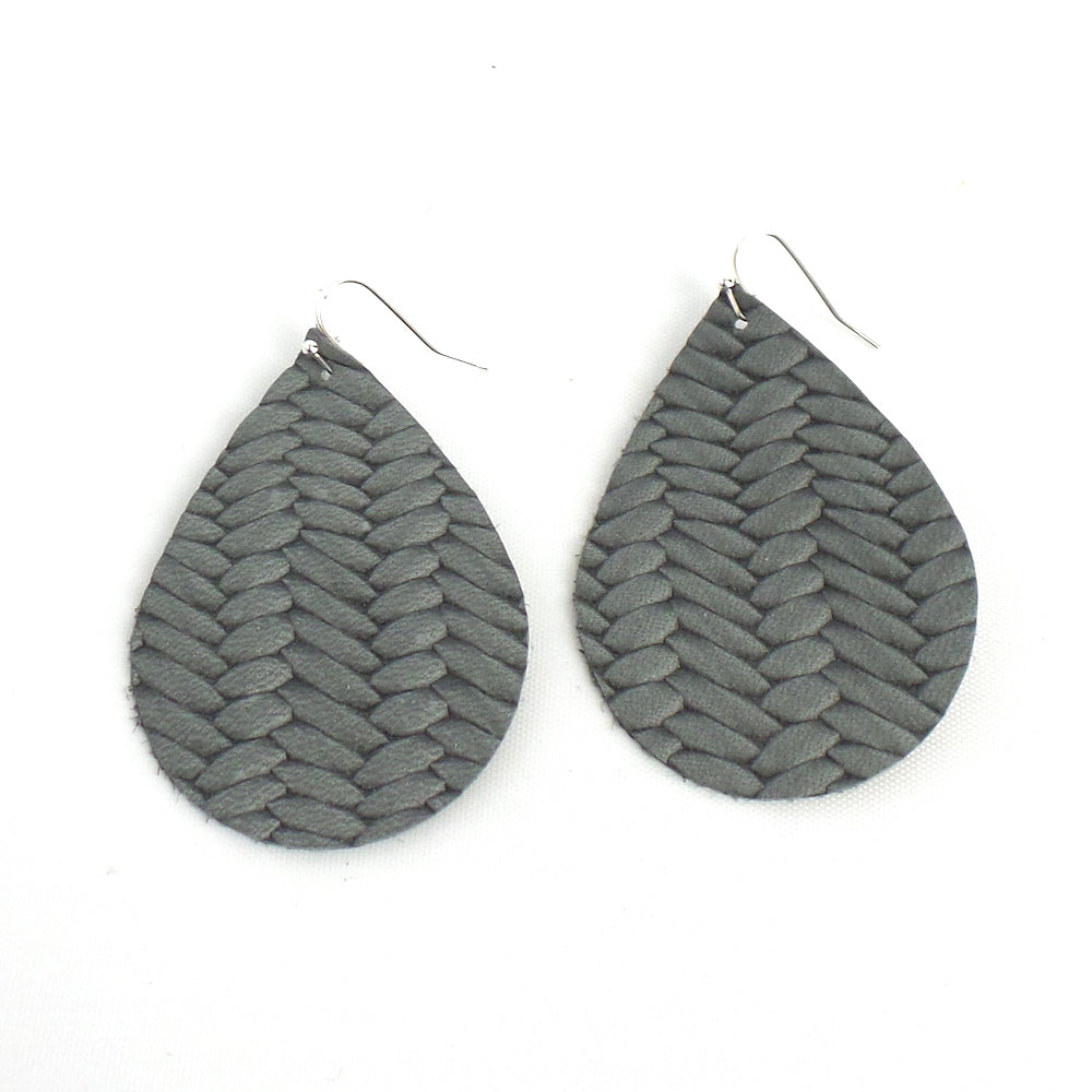 Grey Braided Teardrop Leather Earrings - Estilo Concept Store