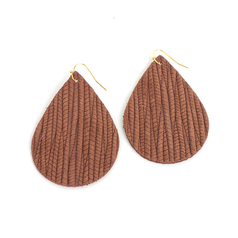 Natural Embossed Teardrop Leather Earrings - Estilo Concept Store