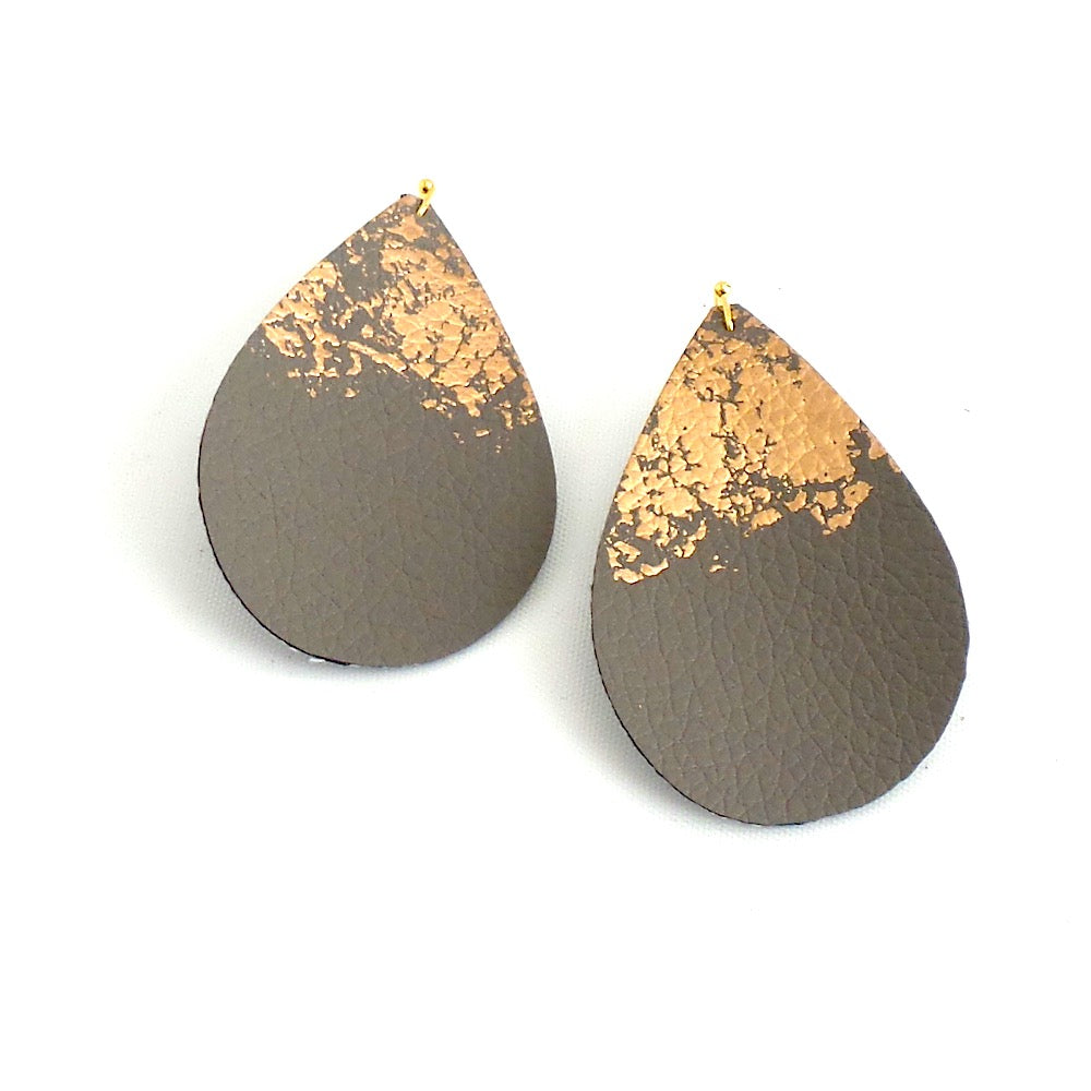 Splatter Leather Tear Drop Earrings *click for more colors