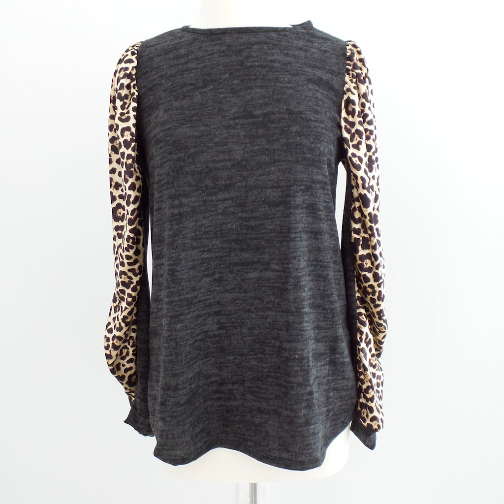 Grey with Animal Print Satin Sleeves Top - Estilo Concept Store