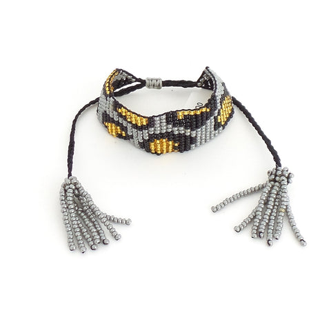 Animal Print Gray Bracelet with Black String - Estilo Concept Store