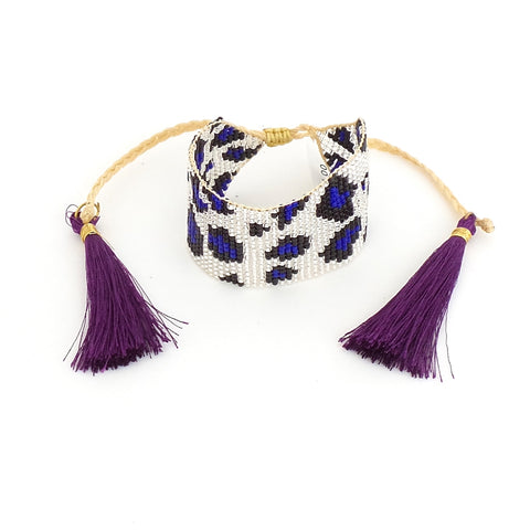 Animal Print Silver and Blue Bracelet with Purple Tassel