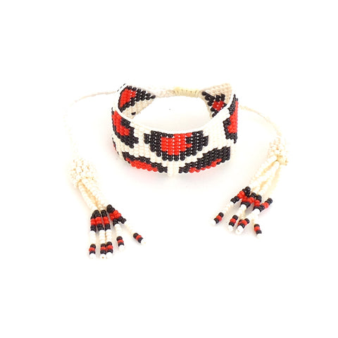 Animal Print White and Red Bracelet
