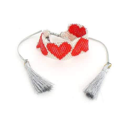 Silver and Red Heart Miyuki Bracelet